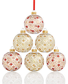 Holiday Lane Shatterproof Red/Gold Plaid Balls, Set of 6, Created for Macy's
