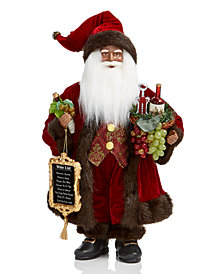 Holiday Lane African-American Santa with Wine, Wine List & Basket, Created for Macy's