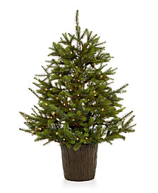 Holiday Lane 4' Mixed Tree with Bark Base & 100 Incandescent Lights, Created for Macy's