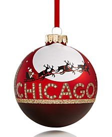 Chicago Red Ornament with Santa and Reindeer Created for Macy's