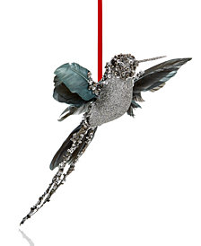 Holiday Lane Gray Glitter Bird Ornament, Created for Macy's