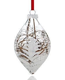 Holiday Lane Glass Clear Drop Ornament with White Design & Vine Inside, Created for Macy's