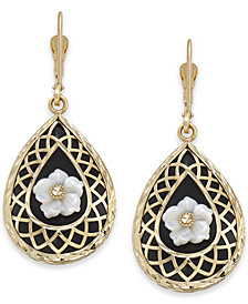 Onyx & Mother-of-Pearl Teardrop Filigree Drop Earrings in 14k Gold