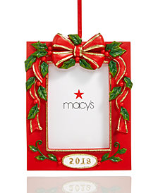 Holiday Lane ''2018'' Photo Frame with Molded Greenery, Red Berries & Bow Christmas Hanging Ornament, Created for Macy's