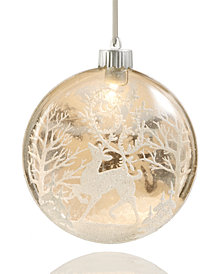 Holiday Lane LED Glass Ball with Deer & Floral Pattern Ornament, Created for Macy's