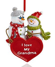 Holiday Lane ''I Love My Grandma'' Snowmen Ornament, Created for Macy's
