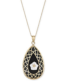 "Onyx & Mother-of-Pearl Flower Teardrop 18"" Pendant Necklace in 14k Gold"