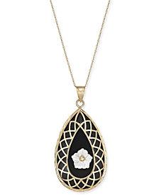 "Onyx & Mother-of-Pearl Flower Teardrop 18"" Pendant Necklace in 14k Gold"