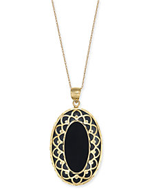 "Onyx Oval Framed 18"" Pendant Necklace in 14k Gold"