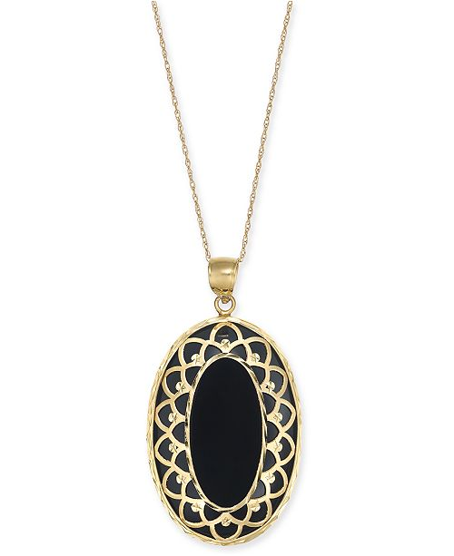 "Macy's Onyx Oval Framed 18"" Pendant Necklace in 14k Gold"