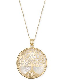 "Mother-of-Pearl Family Tree Medallion 18"" Pendant Necklace in 14k Gold"