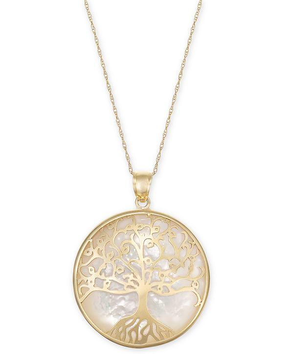 """Macy's Mother-of-Pearl Family Tree Medallion 18"""" Pendant Necklace in 14k Gold"""
