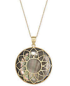 "Black Mother-of-Pearl Flower Medallion 18"" Pendant Necklace in 14k Gold"