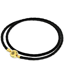 Sutton by Rhona Sutton Charm Holder Leather Wrap Bracelet