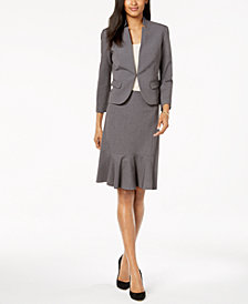 Nine West Kiss-Front Blazer & Flare-Hem Skirt