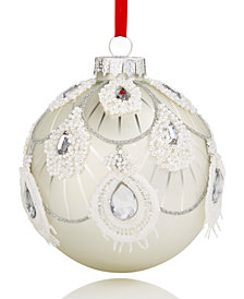 Holiday Lane White & Silver Glass Ball Ornament, Created for Macy's