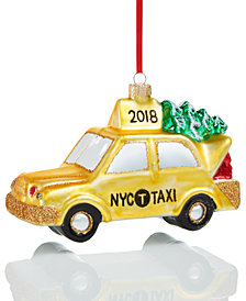 Holiday Lane Glass NYC Christmas Taxi 2018 Ornament, Created for Macy's