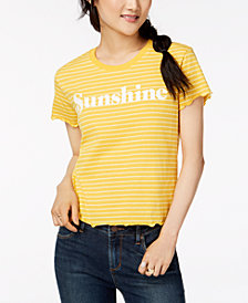 Hybrid Juniors' Lettuce-Edge Sunshine-Graphic T-Shirt