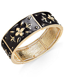 Thalia Sodi Gold-Tone Black Enamel Flower Stretch Bracelet, Created for Macy's