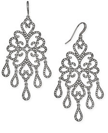 I.N.C. Silver-Tone Pavé Openwork Chandelier Earrings, Created for Macy's