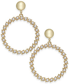 "I.N.C. Extra Large 2.75"" Gold-Tone Imitation Pearl Drop Hoop Earrings, Created for Macy's"