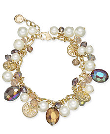 Charter Club Gold-Tone Coin, Bead & Imitation Pearl Link Bracelet, Created for Macy's