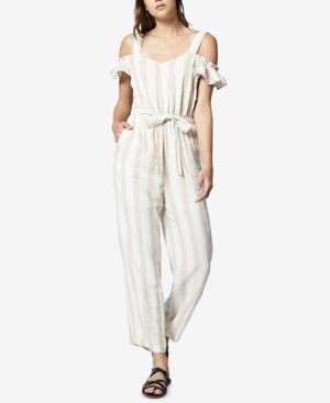 Chasing The Sun Striped Cold-Shoulder Jumpsuit, Linen Beige Stripe