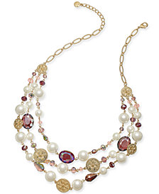 "Charter Club Gold-Tone Coin, Bead & Imitation Pearl Statement Necklace, 19"" + 2"" extender, Created for Macy's"