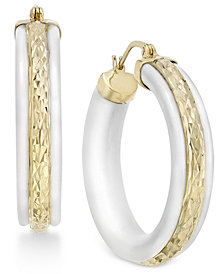 White Agate Stone Hoop Earrings in 14k Gold