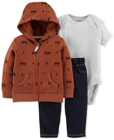 Carter's Baby Boys 3-Pc. Cotton Raccoon-Print Hoodie, Bodysuit & Jeans Set