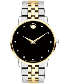 Movado Men's Swiss Museum Classic Diamond-Accent Two-Tone PVD Stainless Steel Bracelet Watch 40mm