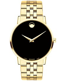 Men's Swiss Museum Classic Gold-Tone PVD Stainless Steel Bracelet Watch 40mm