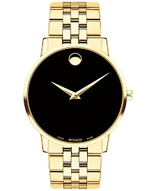 Movado Men's Swiss Museum Classic Gold-Tone PVD Stainless Steel Bracelet Watch 40mm