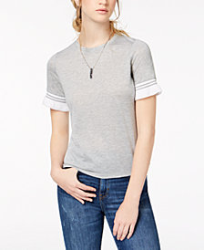 Self Esteem Juniors' Contrast Stripe Ruffle-Sleeve T-Shirt