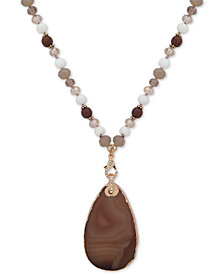 "lonna & lilly Gold-Tone Bead & Stone 32"" Pendant Necklace"