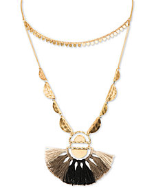 "lonna & lilly Gold-Tone Charm Bead & Tassel 40"" Adjustable Double-Row Necklace"