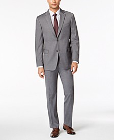 Men's Modern-Fit THFlex Stretch Gray Twill Suit