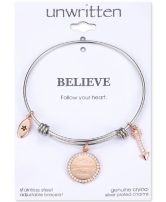 "Image of Unwritten Two-Tone ""Follow Your Heart"" Bangle Bracelet in Rose Gold-Tone & Stainless Steel"