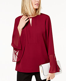 Alfani Bell-Sleeve Keyhole Blouse, Created for Macy's