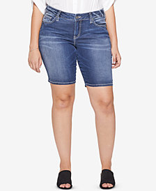 Silver Jeans Co. Plus Size Suki Stretch Denim Bermuda Shorts