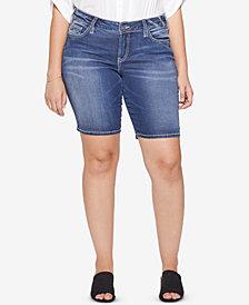 Silver Jeans Co. Plus Size Suki Stretch Denim Bermuda Shorts