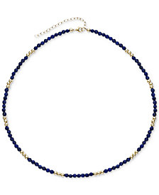 "Lapis Lazuli (3mm) & Gold Bead Choker Necklace in 14k Gold, 14"" + 2"" extender (Also in Black Spinel)"
