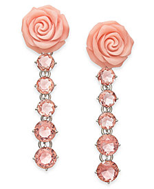 kate spade new york Silver-Tone Crystal & Rose Linear Drop Earrings