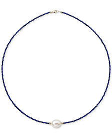 "Lapis Lazuli (2mm) & Cultured Freshwater Pearl (10mm) 18"" Collar Necklace in 14k Gold"