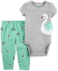 Carter's Baby Girls 2-Pc. Cotton Swan Bodysuit & Printed Pants Set