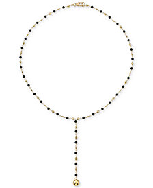 "Cultured Freshwater Pearl (3mm) 18"" Lariat Necklace in 18k Gold-Plated Sterling Silver (Also in Black Spinel)"