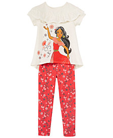 Disney Little Girls 2-Pc. Elena Lace Ruffle T-Shirt & Legging Set