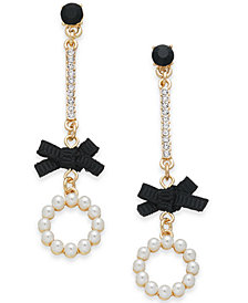 I.N.C. Gold-Tone Crystal, Stone, Imitation Pearl & Bow Linear Drop Earrings, Created for Macy's