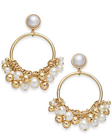 "I.N.C. Extra Large 2.75"" Gold-Tone Imitation Pearl Shaky Drop Hoop Earrings, Created for Macy's"