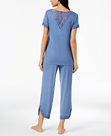I.N.C. Lace-Trim V-Back Pajama Set, Created for Macy's